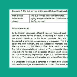 IP/JC1 english notes: comprehension package