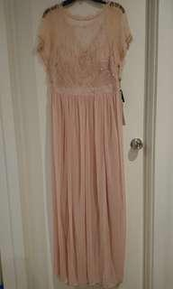 Short Sleeve Chiffon Gown with Sheer Sequin Lace Bodice - 16 - SATIN BLUSH