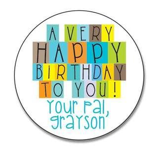 Personalized Birthday, Christmas Gift Tags Stickers