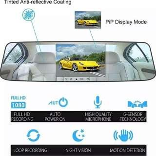 New Silver Mirror Front & Rear Reverse Cameras with 4.3 Inch LCD TouchScreen - Complete Set, Ready Stock