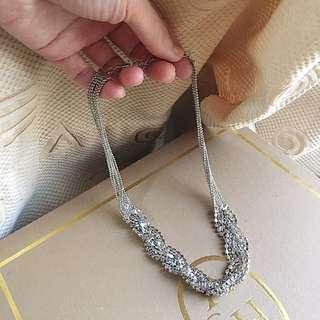 🚚 全新❤️銀色簡約水鑽層層垂墜短項鍊