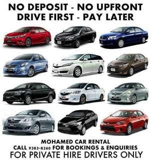 PRIVATE HIRE CAR RENTALS. DRIVE FIRST PAY LATER / NO DEPOSIT / NO UPFRONT!
