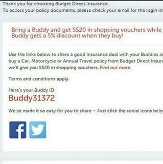 Affinity / Buddy ID Budget Direct Insurance 5% discount promo code