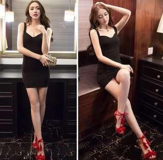 PO : Sizes Available From S To L. Super Hot And Sexy Korean Style V Cut Front/V Cut Neckline/V Neck Sleeveless Bodycon/Body Hugging Little Black Dress