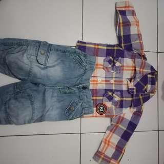 Set kemeja dan jeans baju bayi