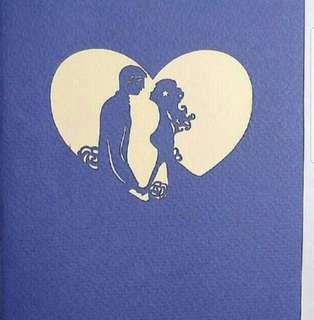 Sales : Pop Up Card Dancing & Kissing Couples 5 (Purple) Valentines/ Wedding Invitation/ Anniversary