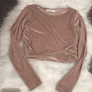 Rose long sleeves crop top