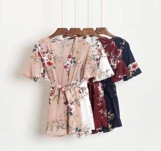 ✨ white black Floral Kimono flutter V Romper // instock