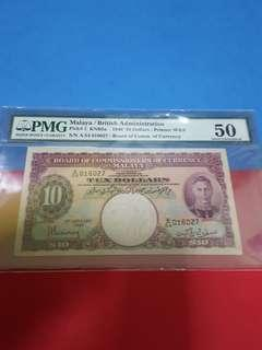 $10- Malaya 1941-pmg50 AU. RARE IN HIGH GRADE