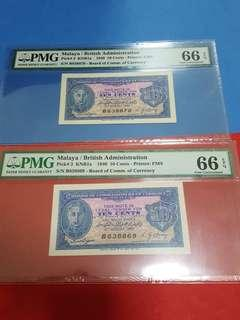 10-cents 1940 running pair in high grade Both Pmg66epq