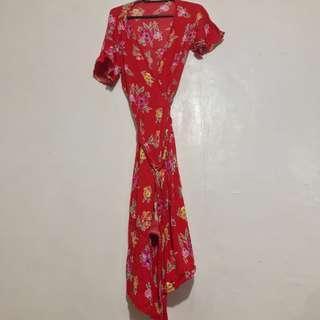Vintage Floral Wrap Up Dress