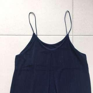 Instock! - BN Navy Blue Pleated Spag 2 way Top