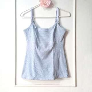 NURSING BREASTFEEDING TANK TOP SPAGHETTI STRAP (GREY)