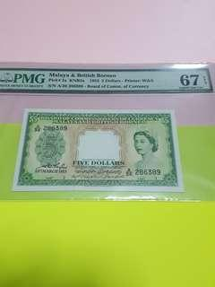 $5-1953-PMG67EPQ HIGHEST GRADE. MBB.