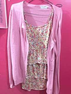 Tanktop // cardigan // atasan bunga bunga pink