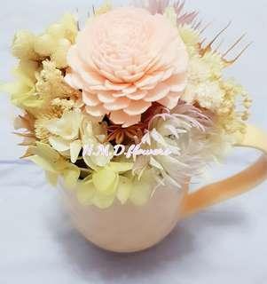 🚚 乾燥花 杯子 桌花居家裝飾 禮物 繡球花 不凋花