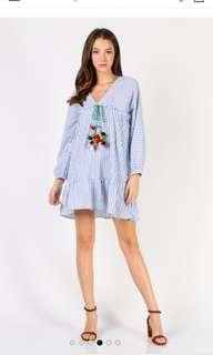 M Dressabelle Long Sleeve Pom Pom Tie Front Dress