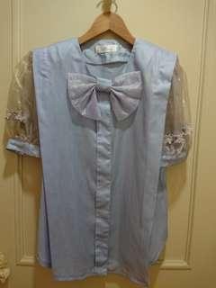 設計師訂製款淡紫色寬鬆蝴蝶結上衣