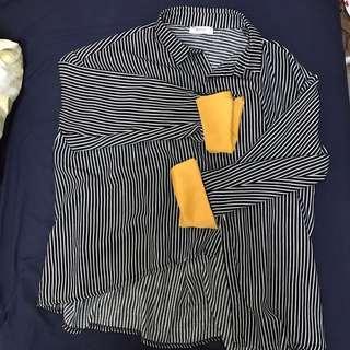🚚 設計感 條紋雪紡襯衫 mercci22 類似款