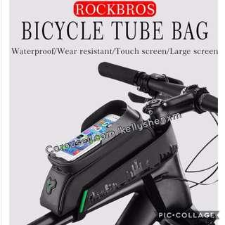 🚚 RockBros bicycles pouch with phone holder Bicycle front tube bay