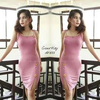 Courtley strapped buttoned dress
