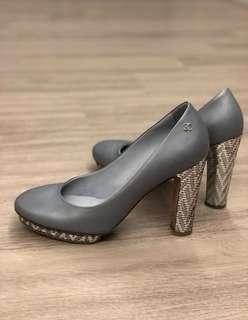 Chanel Metallic Blue Heels in Calfskin