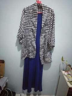 Blue dress dan outer SALE