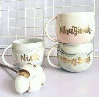 Customisable cup calligraphy anniversary farewell event Day gift gifts present presents Friend housewarming birthday Mugs Mug teacher Coffee office customised company couple Colleagues Colleague Personalised corporate cups christmas wedding marble