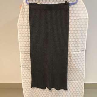 Knitted Pencil Skirt Grey