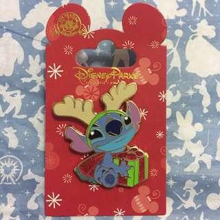 包平郵 Disney USA Stitch Xmas deer pin 聖誕鹿 史迪仔 襟章