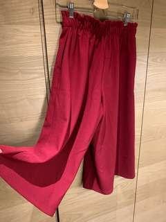 🚚 紅色彈性闊腿褲 寬褲