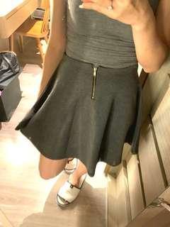 🚚 灰色針織彈性A字裙