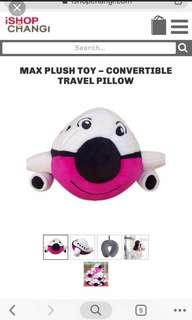 2 in 1 Max plush toy and convertible travel pillow
