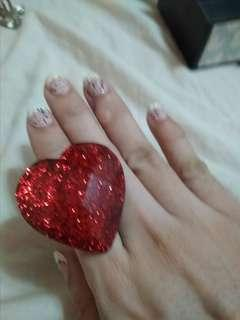 BIG RED HEART RING