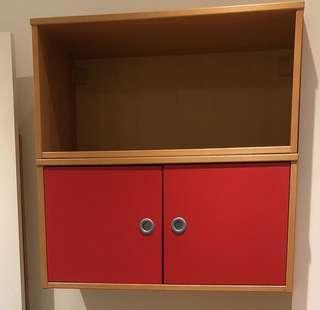 Red floating cabinets