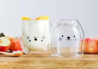 🇯🇵日本直送 手工製造 可愛小貓雙層玻璃杯 冷熱飲品皆可,送禮自用皆宜,最有心思的聖誕禮物、生日禮物❗️