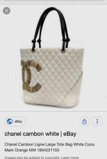 Chanel Cambon Flat Tote Bag White Coco
