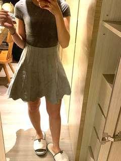 🚚 灰色顯瘦針織A字裙 傘狀裙