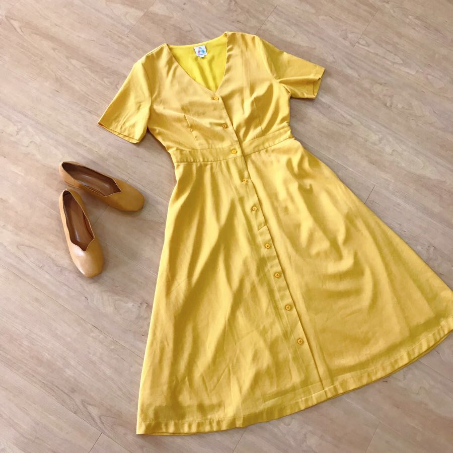 3f6769a0 A for Arcade Yellow Button Up Dress, Women's Fashion, Clothes ...