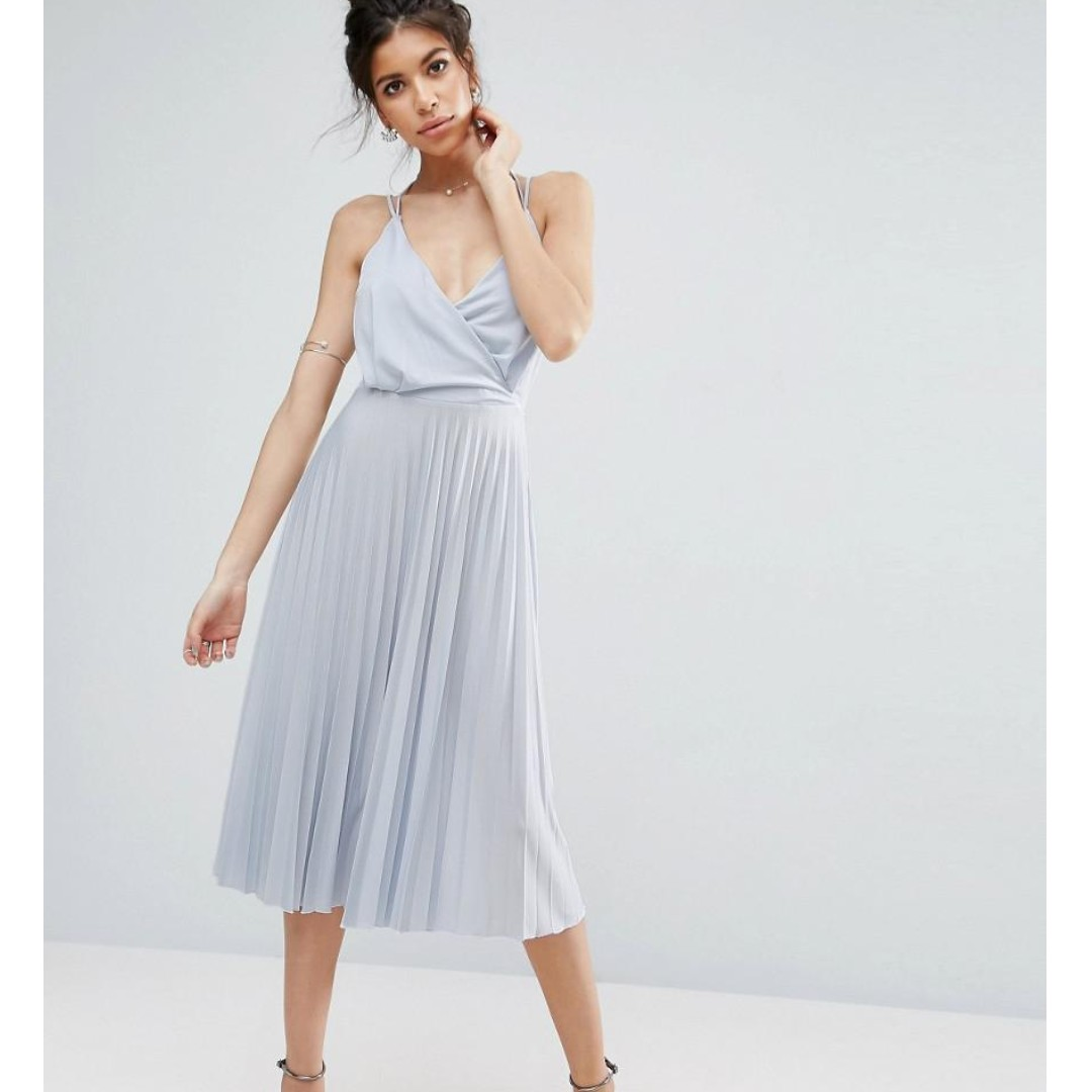 Free Shipping Asos Blouson Wrap Pleated Midi Dress Wedding Party Cocktail Formal