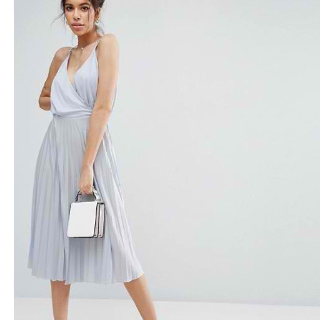 53a58a2236 *Free Shipping* ASOS Blouson Wrap Pleated Midi Dress (wedding, party,  cocktail, formal)