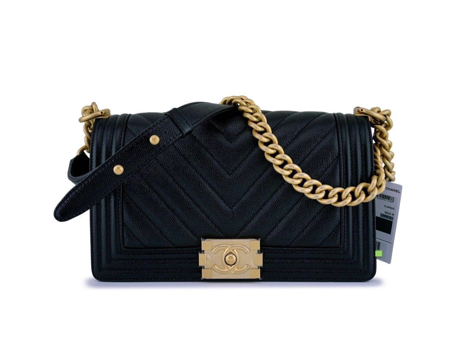 6ad2d51b02ea85 Authentic Chanel Black Caviar Chevron Old Medium Classic Boy Flap ...