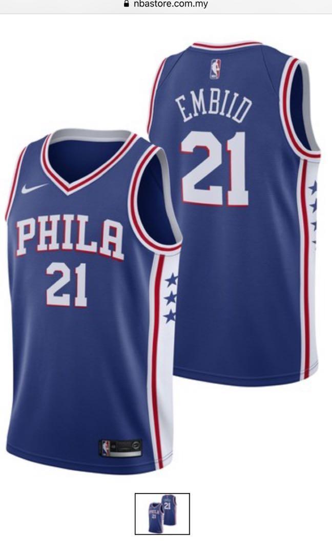 new style 8f38a fb6d0 Authentic NBA Philadelphia 76ers Joel Embiid Nike Swingman ...