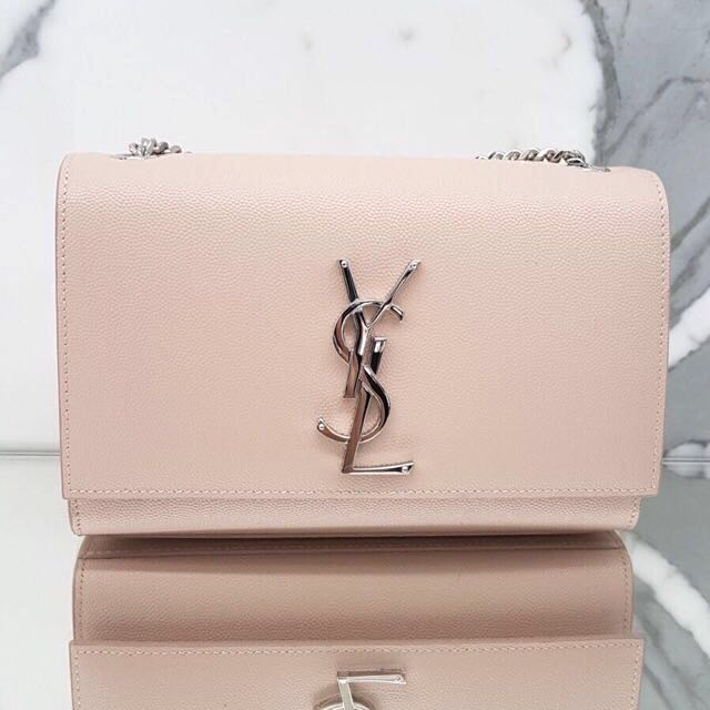 d72980952e3 BNIP YSL Saint Laurent Pink x Silver Calf Leather Small Kate Bag, Luxury,  Bags & Wallets, Handbags on Carousell
