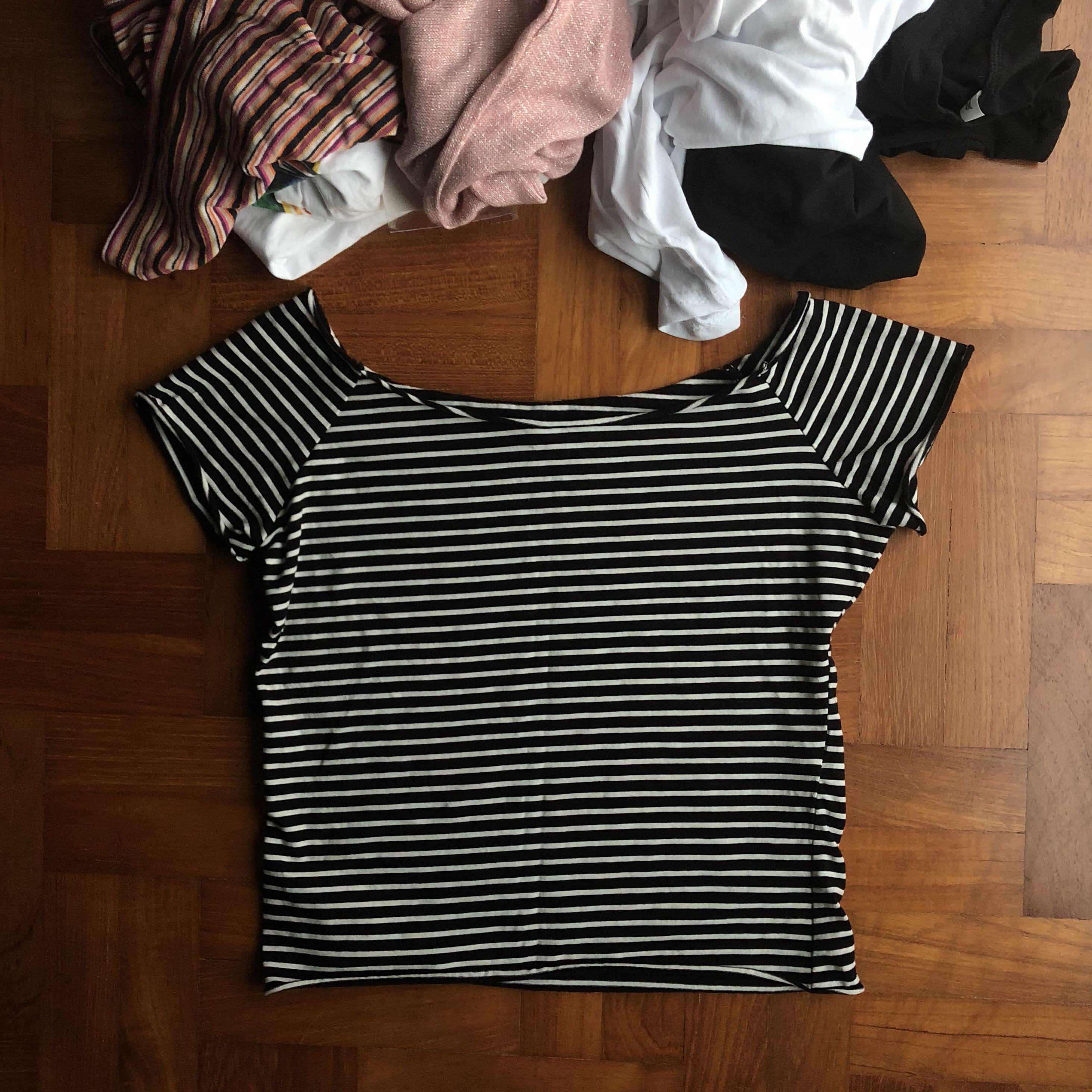 98bf43427d Brandy Melville Black And White Striped Shirt Dress