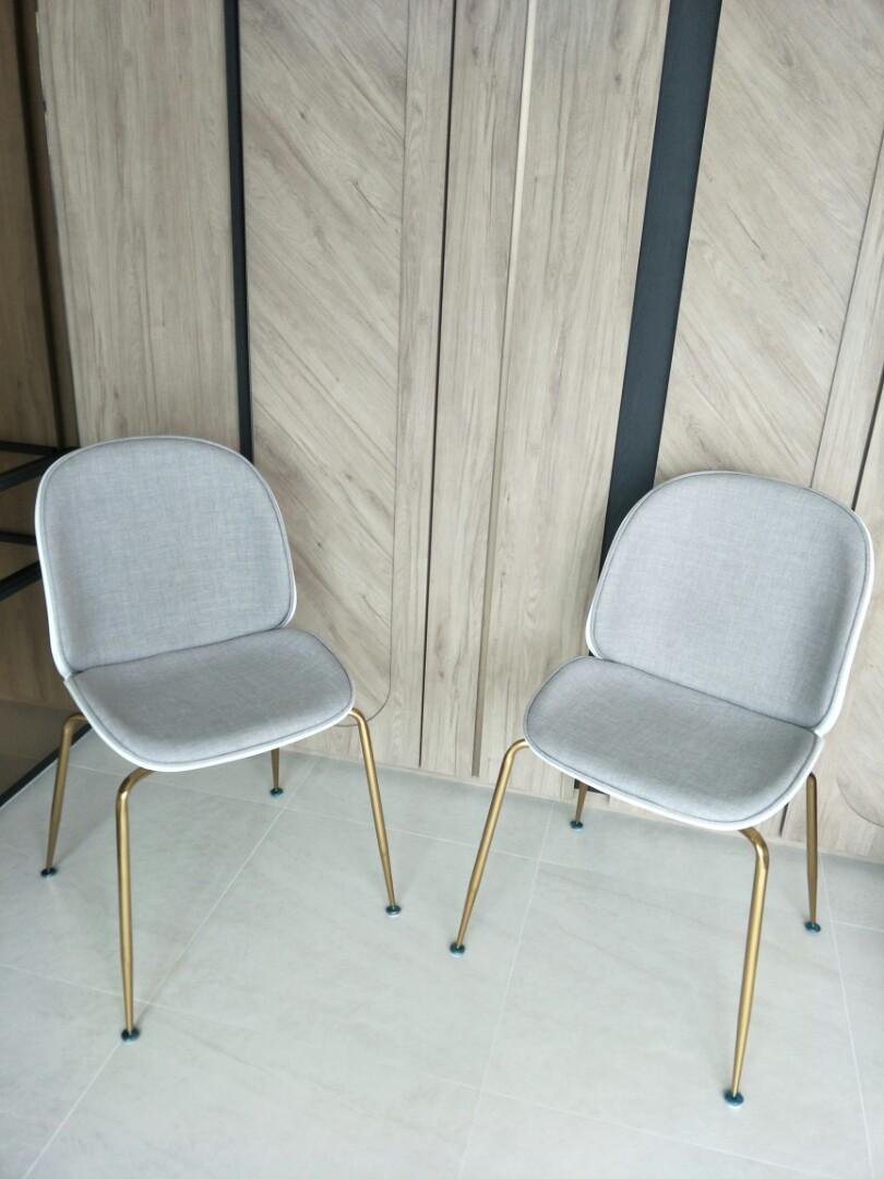 Picture of: Designer Beetle Chair Grey White Gold Legs Furniture Tables Chairs On Carousell