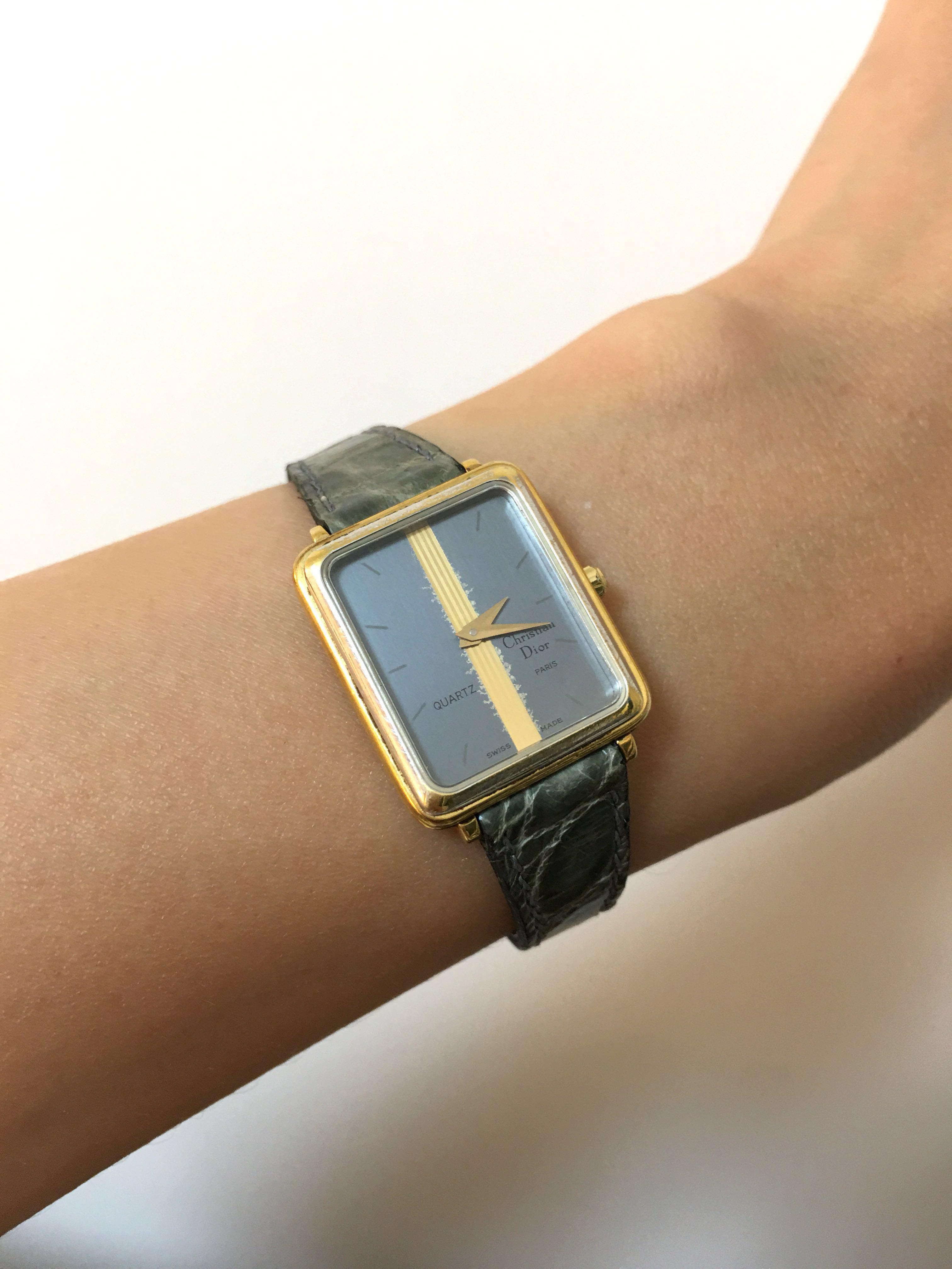 Dior 古董鰐魚手錶vintage watch chanel hermes rolex fendi cartier chaumet van cleef bvlgari piaget