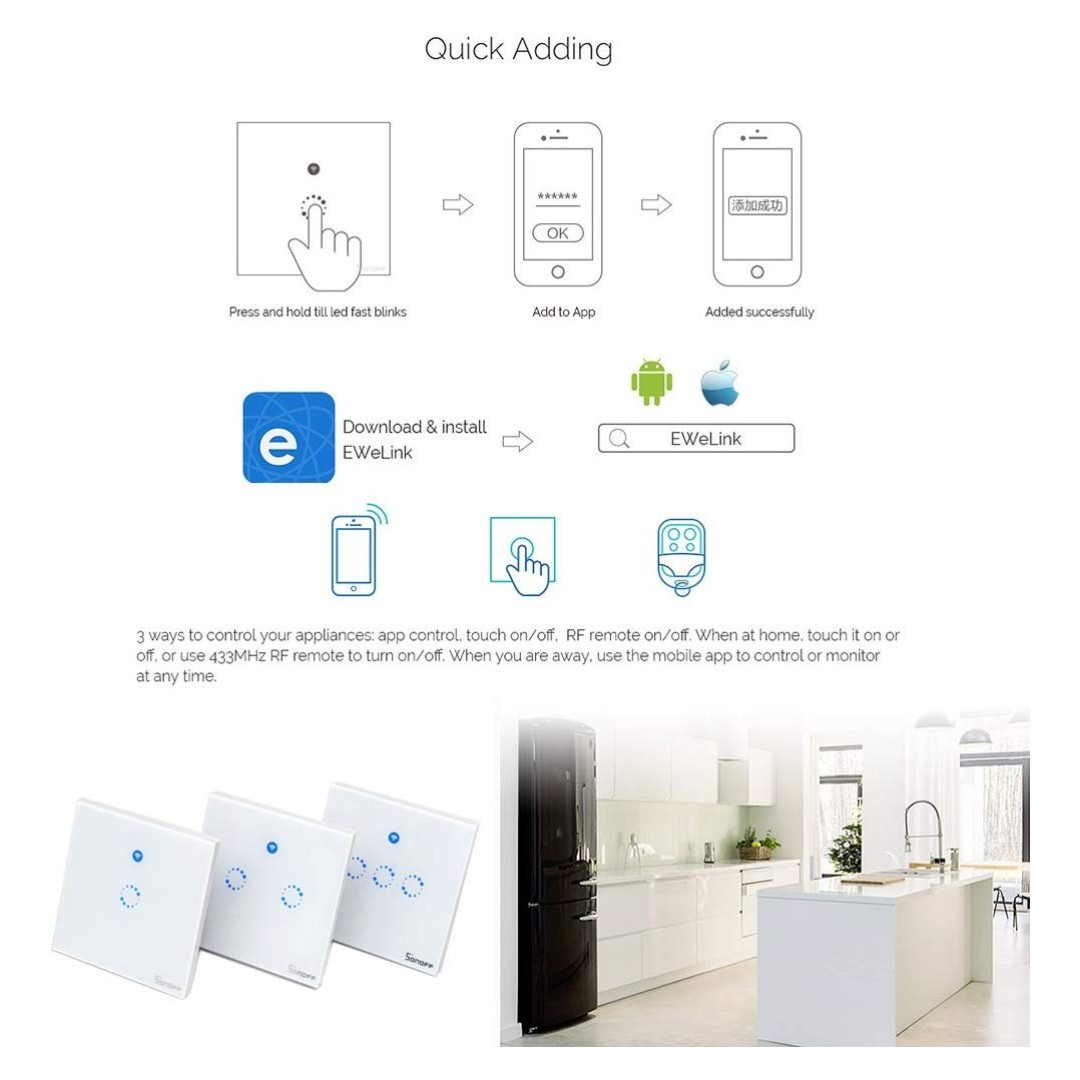 (E640) Sonoff T1 Smart WiFi RF APP Touch Control Wall Light Switch 1 2 3  Gang 86 Type UK Panel Smart Home