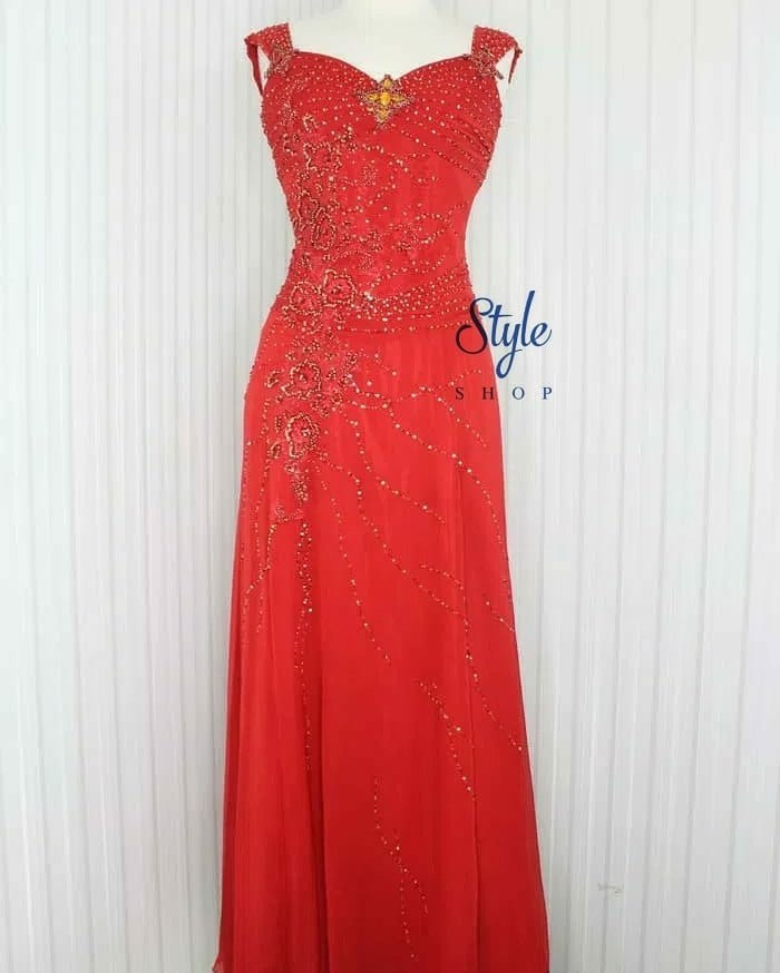 Gaun Pesta Gaun Pesta Malam Long Dress Simple Elegant Warna Merah