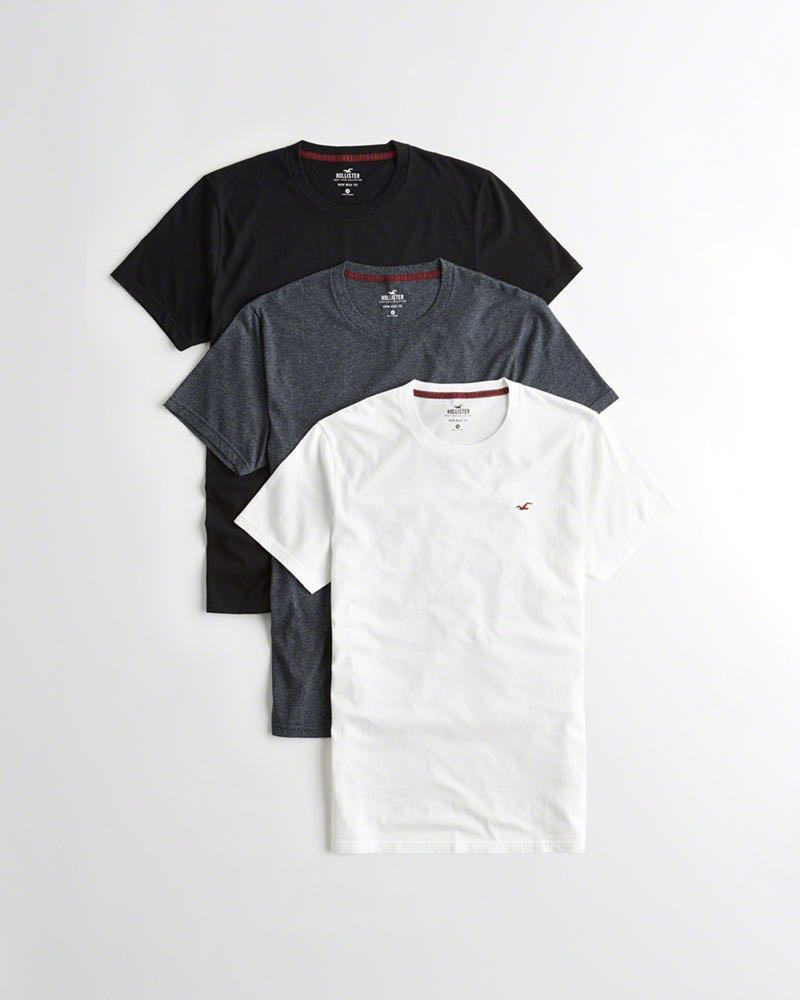 c51489d12280 Hollister Guys Must-Have Crewneck T-Shirt 3-Pack M